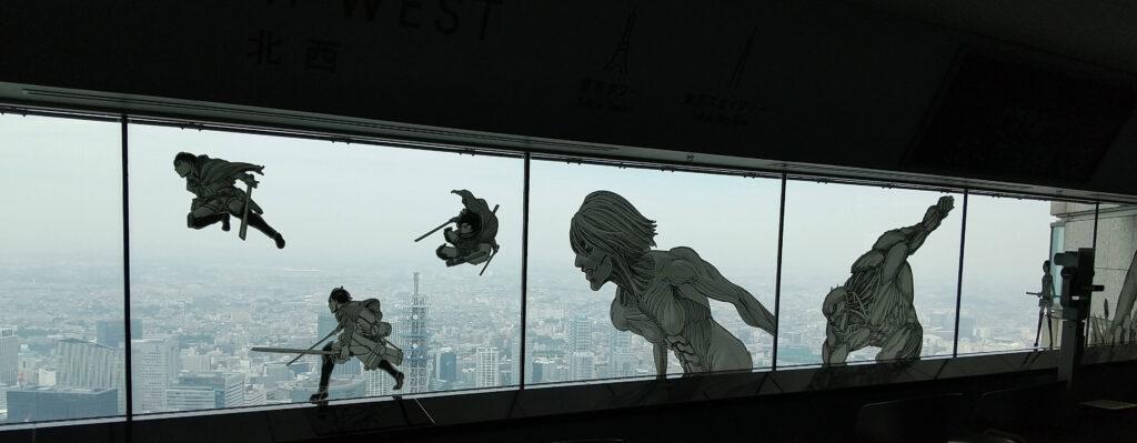 リヴァイ、エレン、ミカサと女型、鎧の巨人